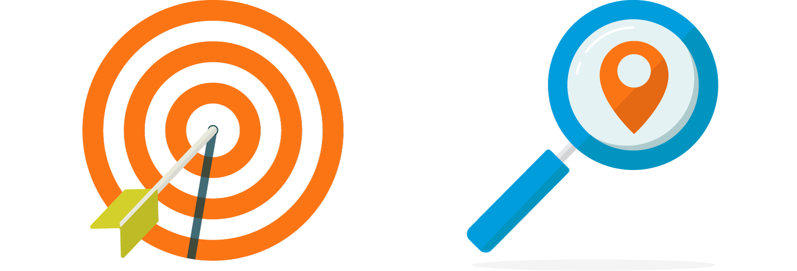 Illustration of an orange target with an arrow in the bullseye on the left. On the right, an illustration of a blue magnifying glass and an orange geomarker icon.