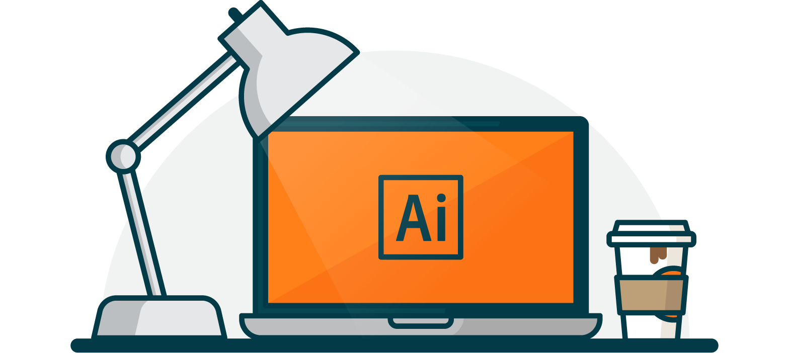 Illustration of a desk with a laptop open with an orange screen and the Adobe Illustrator icon in black. To the left there is a swinging arm desk lamp and to the right a cup of coffee.
