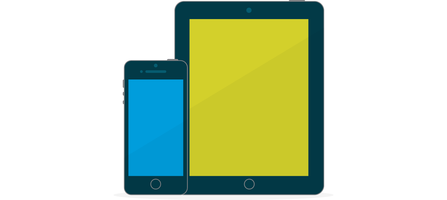 Illustration of an iPhone with a blue screen next to an iPad with a lime green screen